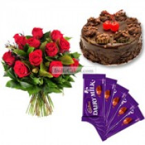 Eggless Chocolate Truffle Cake Half Kg with 6 Red Roses Bunch and 5 Chocolates