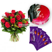 Eggless Strawberry Cake Half Kg with 6 Red Roses Bunch and 5 Chocolates