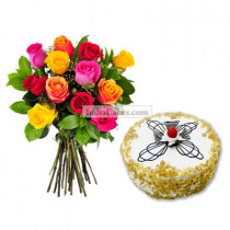 Eggless Butterscotch Cake 1 Kg with 12 Mix Roses Bunch