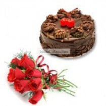 Chocolate Truffle Cake Half Kg with 6 Red Roses Bunch