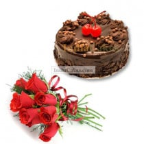 Eggless Chocolate Truffle Cake 1 Kg with 6 Red Roses Bunch