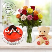 Eggless Strawberry Cake Half Kg with 6 Mix Roses Bunch and a Teddy Bear