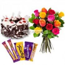Eggless Black Forest Cake Half Kg with 6 Mix Roses Bunch and 5 Chocolates