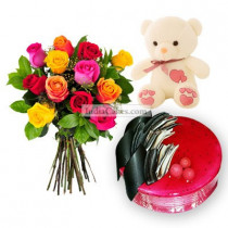 Eggless Strawberry Cake 1 Kg with 6 Mix Roses Bunch and a Teddy Bear