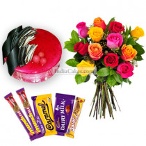 1 Kg Strawberry Cake-6 Mix Roses Bunch-5 Chocolates