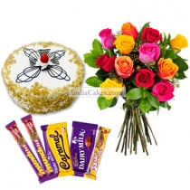 Half Kg Butter Scotch Cake-6 Mix Roses Bunch-5 Chocolates