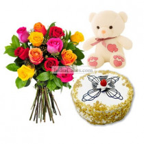 Eggless Butterscotch Cake Half Kg with 6 Mix Roses Bunch and a Teddy Bear