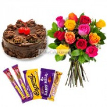 Eggless Chocolate Truffle Cake Half Kg with 6 Mix Roses Bunch and 5 Chocolates