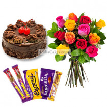1 Kg Chocolate Truffle Cake-6 Mix Roses Bunch-5 Chocolates