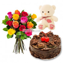 1 Kg Chocolate Truffle Cake-6 Mix Roses Bunch-Teddy Bear