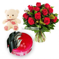 Half Kg Strawberry Cake-6 Red Roses Bunch-Teddy Bear