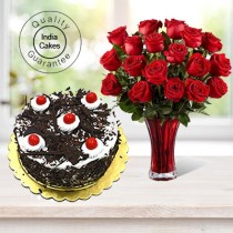 Black Forest Cake Half Kg with 6 Red Roses Bunch