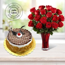 Butterscotch Cake Half Kg with 6 Red Roses Bunch
