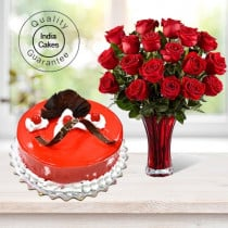 Strawberry Cake Half Kg with 6 Red Roses Bunch