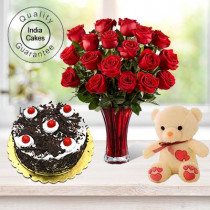 Eggless Black Forest Cake 1.5 Kg with 6 Red Roses Bunch and a Teddy Bear
