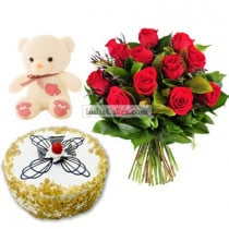 Eggless Butterscotch Cake Half Kg with 6 Red Roses Bunch and a Teddy Bear