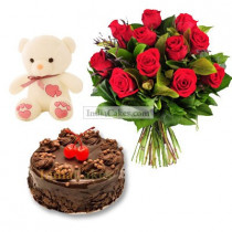 Eggless Chocolate Truffle Cake 1 Kg with 6 Red Roses Bunch and a Teddy Bear
