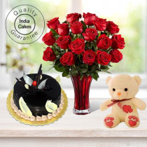 1.5 Kg Chocolate Truffle -6 Red Roses Bunch-Teddy Bear