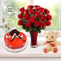 Eggless Strawberry Cake 1 Kg with 6 Red Roses Bunch and a Teddy Bear