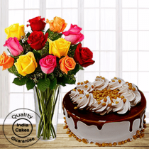 Delicious Butterscotch Half Kg Cake with 12 Mix Roses