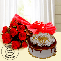 Delicious Butterscotch Half Kg Cake with 9 Red Roses