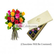 12 Mix Roses Bunch And 10 Pcs Creme Color Chocolate Box