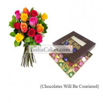 12 Mix Roses Bunch And 25 Pcs Brown Color Chocolate Box