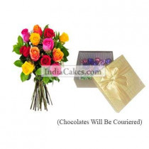 12 Mix Roses Bunch And Golden Chocolate Box