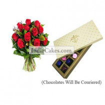 12 Red Roses Bunch And 10 Pcs Creme Color Chocolate Box
