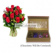 12 Red Roses Bunch And Pink Geometric Designer Chocolate Box