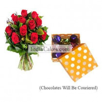 12 Red Roses Bunch And Polka Dot Orange And White Color Chocolate Box