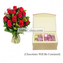 12 Red Roses Bunch And Red Color Velvet Finish Chocolate Box