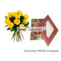 12 Yellow Roses Bunch And 25 Pcs Red Color Chocolate Box