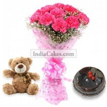 10 Pink Carnations Bunch And Half Kg Chocolate Cake With 6 Inch Teddy