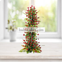 100 Red Roses Long Arrangement