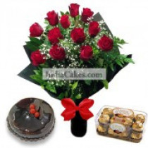 12 Red Roses Bunch And Half Kg Chocolate Cake, 16 Ferrero Rocher Chocolates