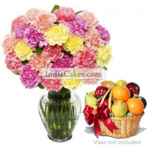 15 mixed Carnations Bunch 3 Kg Fruit Basket