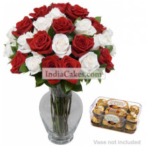 20 Red And White Roses Bunch And 16 Pieces Ferrero Rocher Chocolates