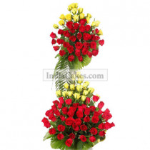 3-4 Feet Arrangement of Red and Yellow Roses