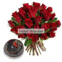 35 Red Roses Bunch And 1 Kg Chocolate Cake