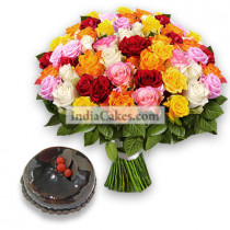 50 Mixed Roses Bunch and Half Kg Chocolate Cake