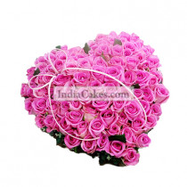 75 Pink Roses Heart Shaped Basket Arrengement