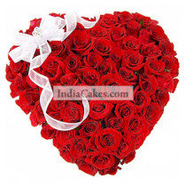 Heart Shape Arrangement Of 50 Red Roses