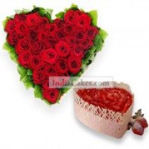 Heart Shape arrangement of 50 Roses and 1 kg Cake