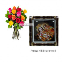12 Mix Roses Bunch And Big Photo Frame 1