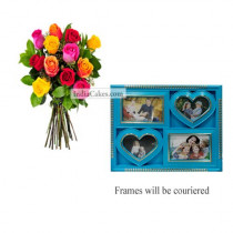 12 Mix Roses Bunch And Designer Photo Frame 2
