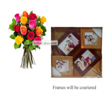 12 Mix Roses Bunch And Designer Photo Frame 3