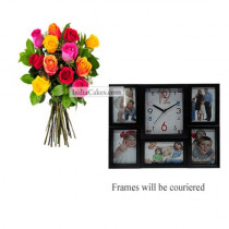12 Mix Roses Bunch And Designer Photo Frame 5
