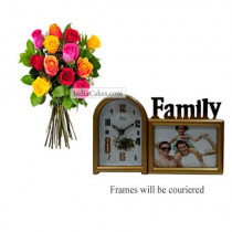 12 Mix Roses Bunch And Family Photo Frame 1
