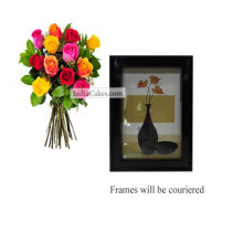 12 Mix Roses Bunch And Photo Frame 2